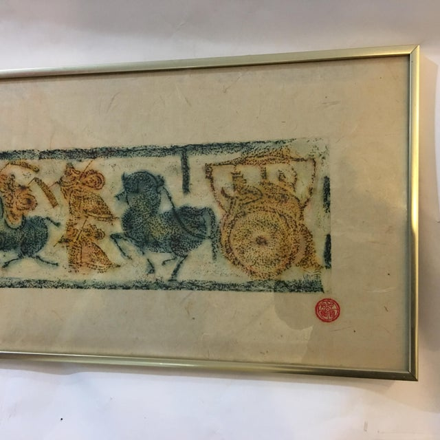 1972 Vintage Han Dynasty Procession of Chariots Framed Print For Sale - Image 11 of 13