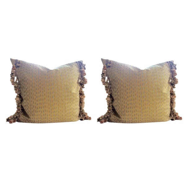 Fortuny Pillows in Cilindri Silver & Gold on Mustard - a Pair For Sale