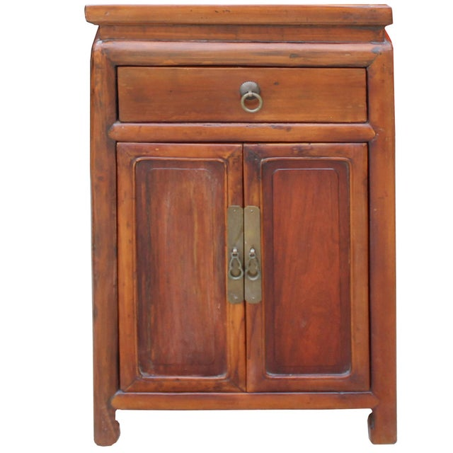 1990s Chinese Ming Style Republic China Brown Simple End Table Nightstand For Sale - Image 5 of 8