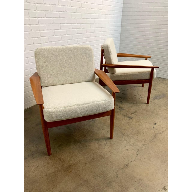 Arne Vodder Teddy Faux Fur Danish Modern Lounge Chairs - a Pair For Sale - Image 9 of 11