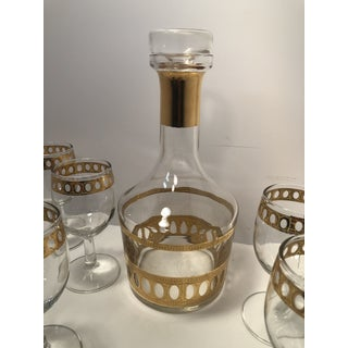 1960s Mid Century Culver Antigua Style Gold Decanter and Glasses Set - Set of 7 Preview