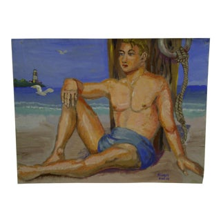 """""""Young Man Sitting on the Beach"""" Original Painting on Paper"""