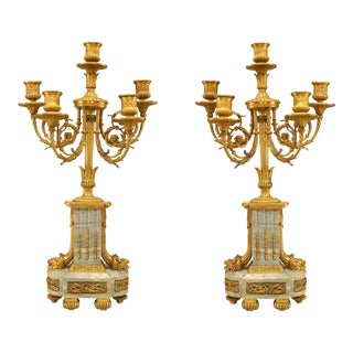 Pair of French Louis XVI Style '19th Century' Five Scroll Arm Candelabras For Sale