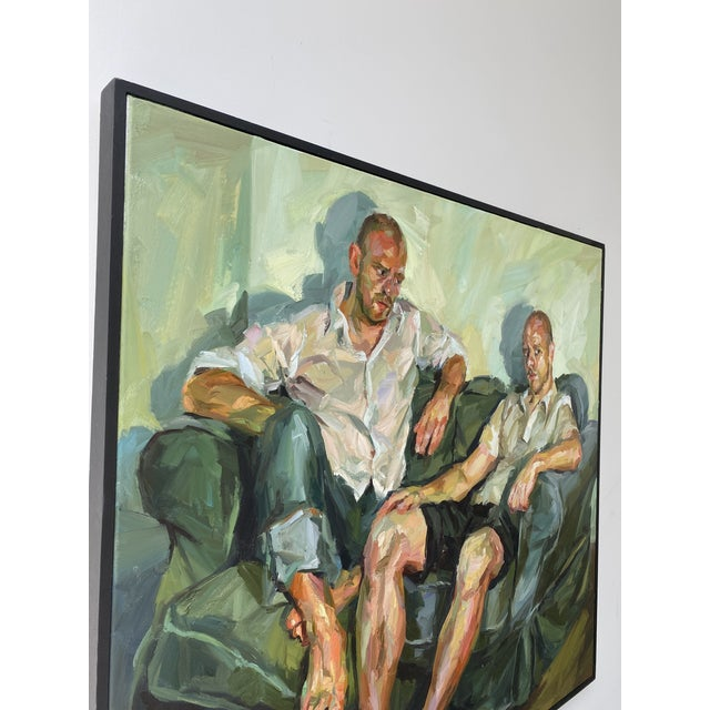 "Contemporary Contemporary Oil Painting by Paul Wright, ""Double Self Portrait"" For Sale - Image 3 of 9"