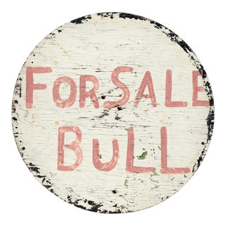"Hand-Painted Wood ""Bull for Sale"" Folk Art Sign"