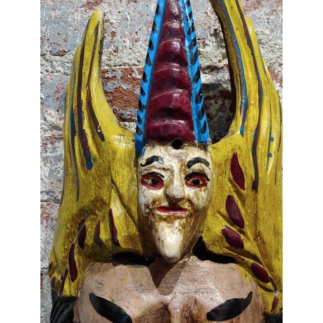 Wood Mexican Mask -Antique Painted Wood Carved For Sale - Image 7 of 9
