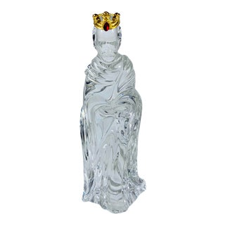 1970s Gorham King Melchior Lead Crystal Nativity Figurine Made in Germany For Sale