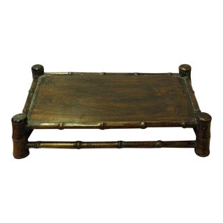 Chinese Brown Wood Carved Rectangular Table Top Stand Display Easel For Sale