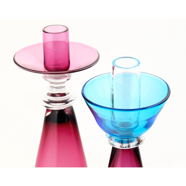 Murano Amethyst & Cerulean Glass Candlesticks - a Pair - Image 5 of 10