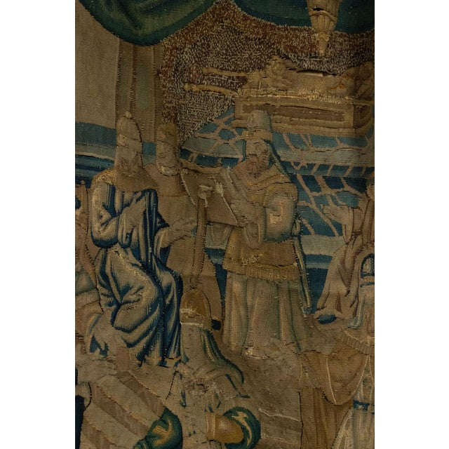 Antique Late 17th/Early 18th Century Belgian Tapestry Depicting Soldiers in a Genre Scene For Sale - Image 4 of 8