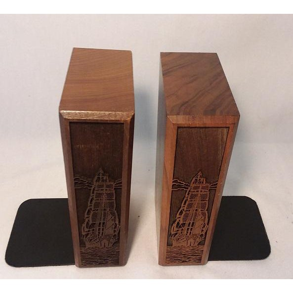 1970s Mid-Century Modern Carved Walnut Ship Bookends - a Pair For Sale - Image 4 of 8