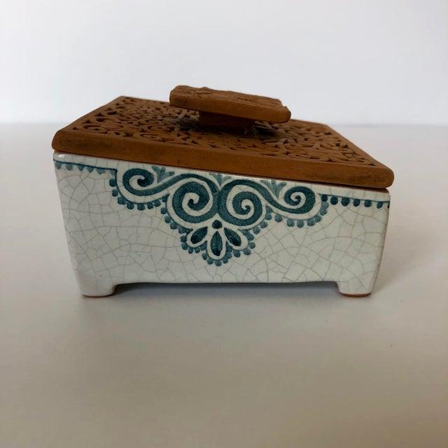 Vintage Italian Terra-Cotta Intaglio Trinket Box For Sale - Image 4 of 7