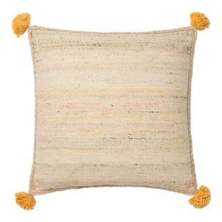 """Justina Blakeney X Loloi Beige / Multi 18"""" X 18"""" Cover with Down Pillow For Sale"""