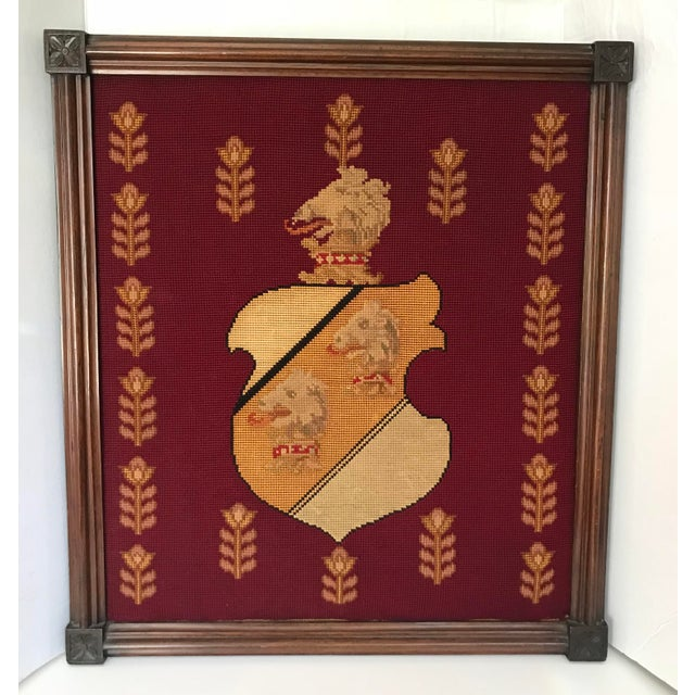 Early 20th Century Antique Framed Needlepoint Shield For Sale - Image 5 of 5