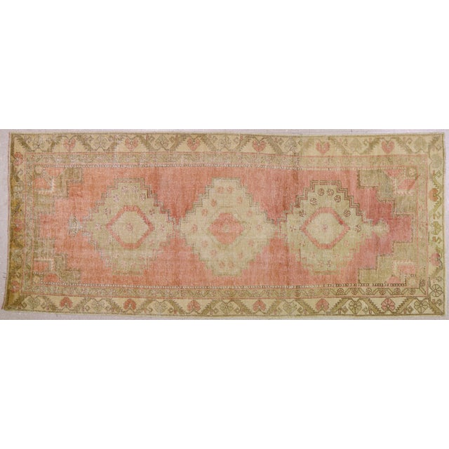 "Vintage Turkish Oushak Rug,4'4""x10'6"" For Sale In New York - Image 6 of 6"