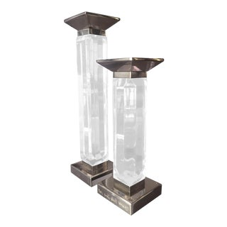 Charles Hollis Jones Candleholders in Lucite and Nickel, Signed - A Pair For Sale
