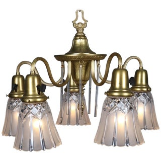 Neoclassical Style Five-Light Gilt & Crystal Chandelier by Williamson Circa 1940 For Sale