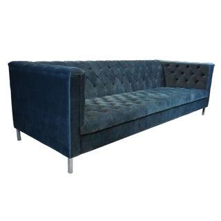 Vintage Blue Tufted Modern Velvet Upholstered Sofa Preview
