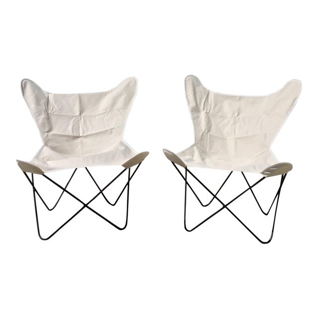 White Butterfly Chairs - A Pair - Image 1 of 6