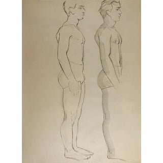 Line Drawing Male Figure 1950's Study For Sale