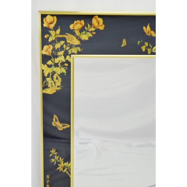 Asian Vintage La Barge Reverse Painted Glass Frame With Beveled Mirror - Artist Signed For Sale - Image 3 of 13