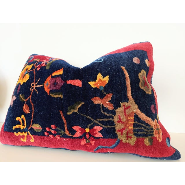 An Antique Nichols Art Deco rug reimagined into an extravagant pillow. Wool and silk fibers on a cotton foundation....