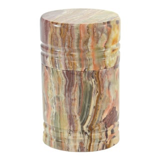 Carved Natural Agate Cylinder Box For Sale