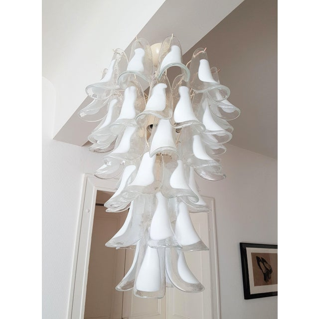 1970s White Mid Century Modern Murano Glass Chandelier, by Mazzega, 1970s- 2 Available For Sale - Image 5 of 10