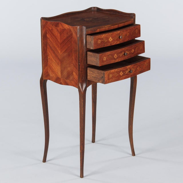 Louis XV 20th Century Louis XV Marquetry Bedside Chest of Drawers For Sale - Image 3 of 13