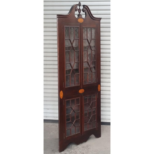 Federal Antique Mahogany Corner China Cabinet For Sale - Image 3 of 13