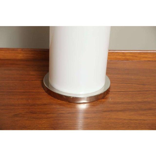 Sleek Italian Nickel & Acrylic Column Table Lamps - Image 6 of 7