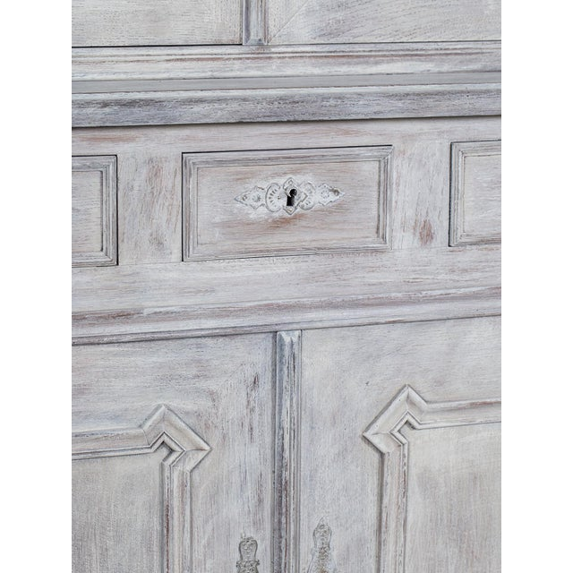 White Mid 19th Century Antique French Painted Oak Louis Philippe Buffet a Deux Corps Cabinet For Sale - Image 8 of 11