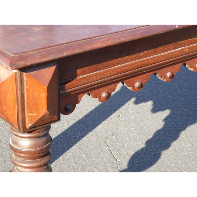 Vintage Spanish Colonial Style Carved Wood Spindle Bench Settee - Image 8 of 10
