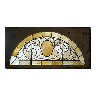 Circa 1900 Abstract Foliate Half Round Yellow Stained Glass Transom Window For Sale