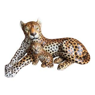 Italian Fine Porcelain Cheetah & Baby Statues For Sale
