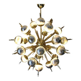 Brass, Silver and Mercury Murano Glass Globes Sputnik Chandelier For Sale