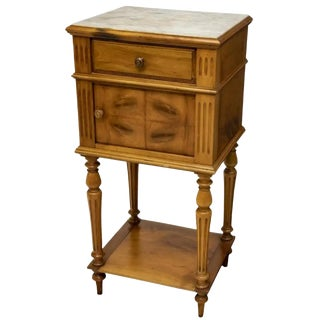 19th Century French Henry II Marble Top Walnut Bedside Cabinet For Sale