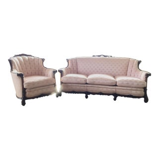 Mid 18th Century Antique Carved Louis XV Sofa & Chair Set For Sale