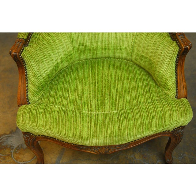 Louis XV Carved Chartreuse Velvet Bergeres - Pair - Image 7 of 8