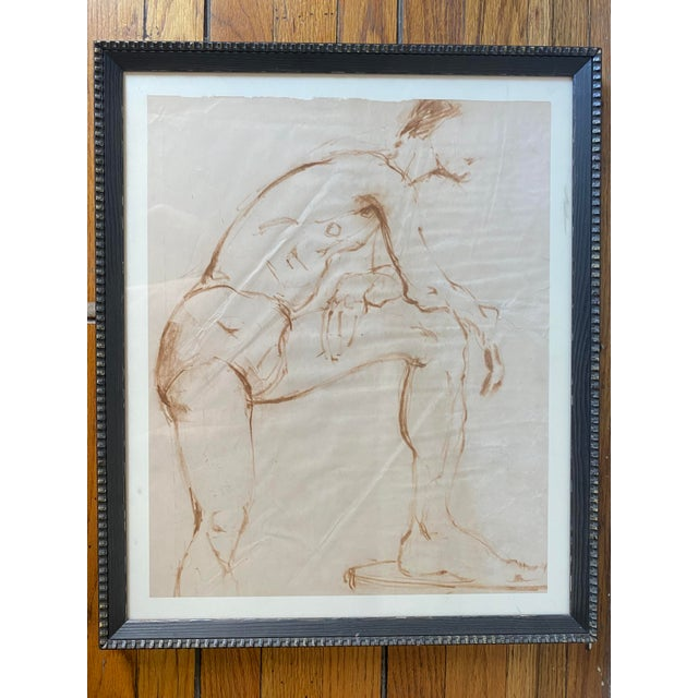 Paper Nude Male Painting Attributed to Helen Beling For Sale - Image 7 of 7