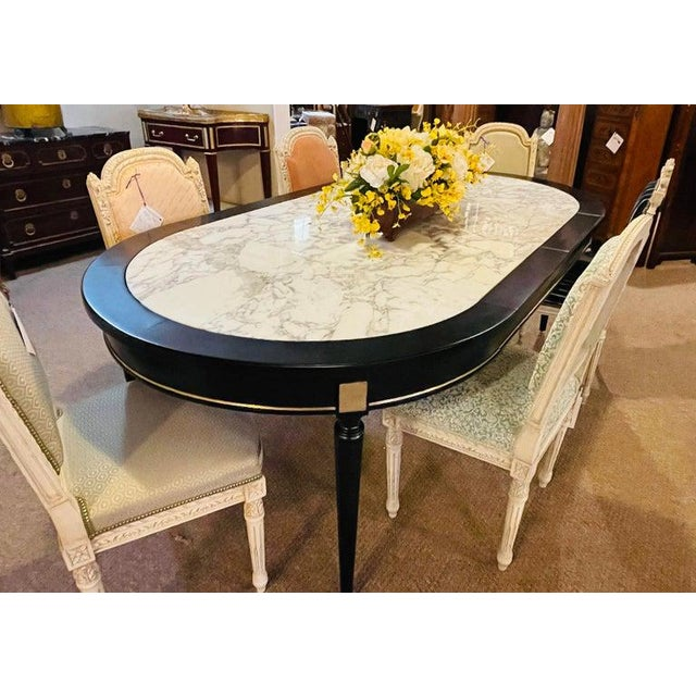 Hollywood Regency Jansen Style Ebony Center Dining Table Marble Top French For Sale - Image 4 of 12