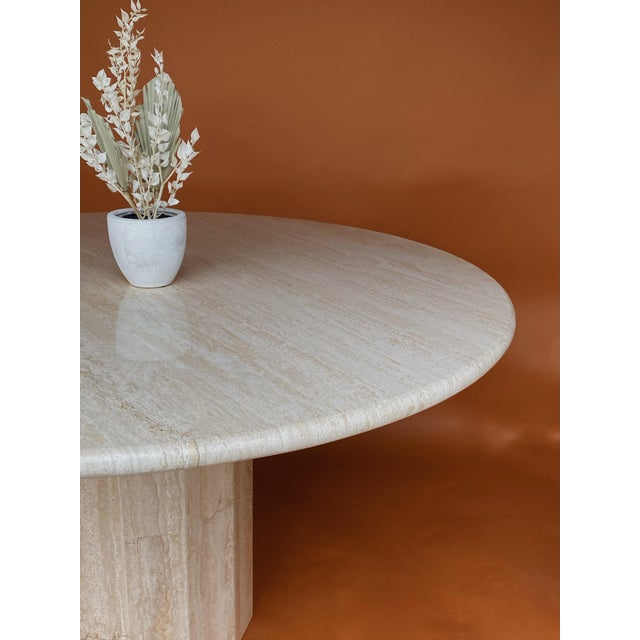 Italian Vintage Italian Stone International Travertine Dining or Entry Table For Sale - Image 3 of 8