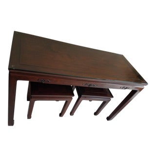 Vintage Asian Rosewood Table and Bench Seats Set - 3 Pieces For Sale