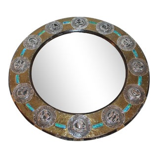 Mid-Century Modern Folk Art Sterling Silver and Brass on Wood Mirror For Sale