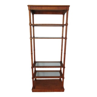 Vintage Faux Bamboo and Glass Etagere or Shelf Unit For Sale