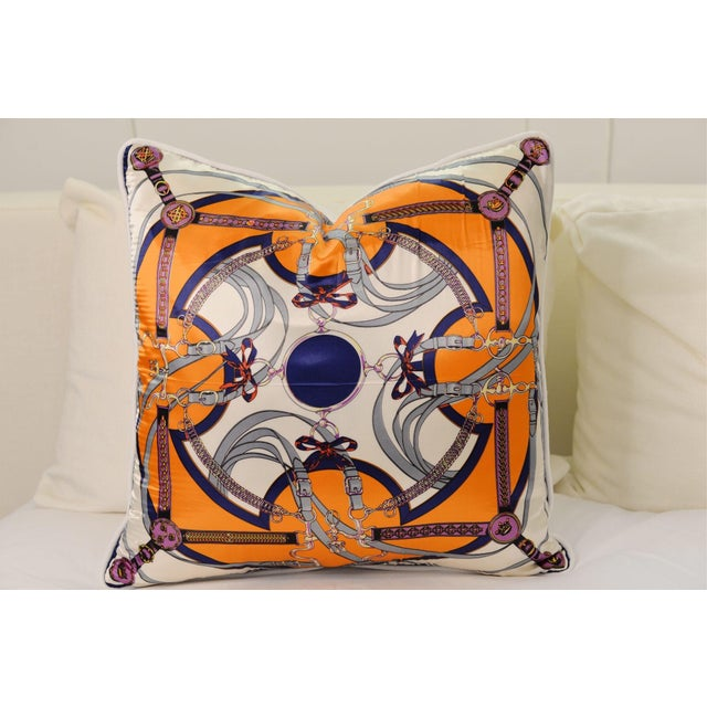 Orange Equestrian Silk Pillow For Sale - Image 4 of 4