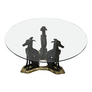 Three Bronze Greyhounds with a Glass Top Coffee Table by Maitland Smith