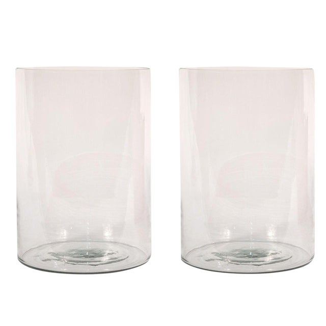Sarreid Ltd Clear Glass Hurricane Vases A Pair Chairish