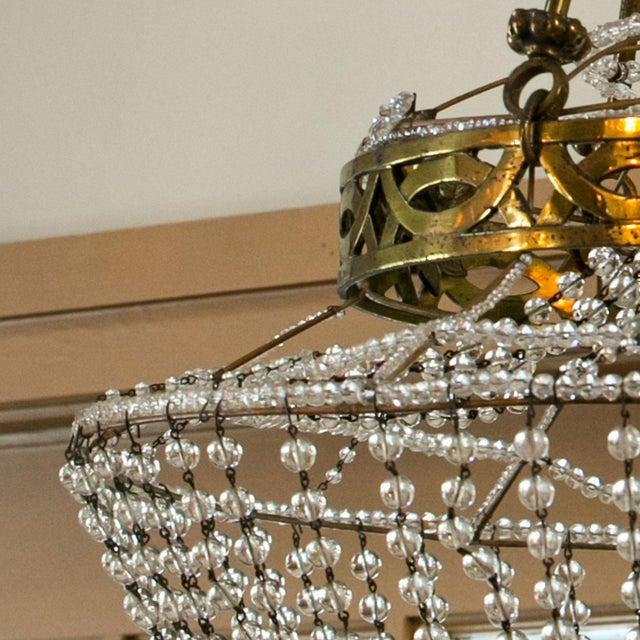 Vintage Glass Beaded Basket Chandelier For Sale - Image 4 of 8