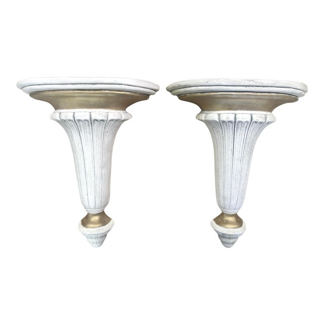 Image of Neoclassical Hollywood Regency Gilt Plaster Wall Shelf Bracket Corbels - a Pair